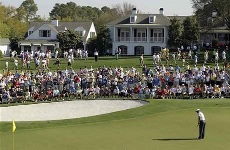 Tiger Woods na prvním tréninku před US Masters 2010.