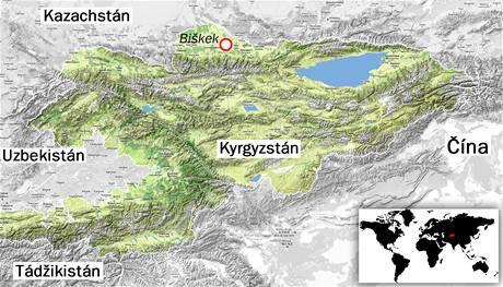 Mapa Kyrgyzstánu