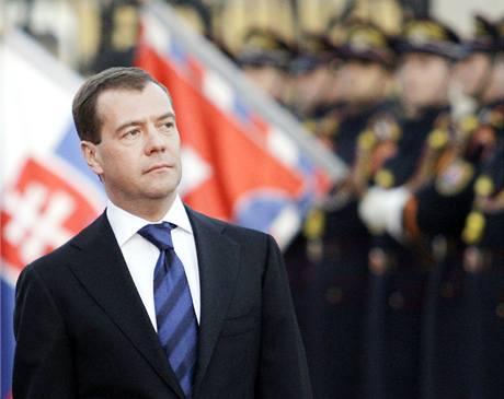 Ruský prezident Dimitrij Medveděv v Bratislavě. (6. dubna 2010)