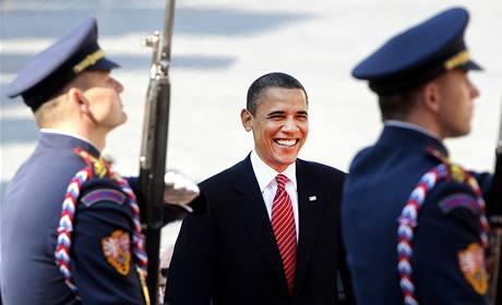 Americký prezident Barack Obama při schůzce na Pražském hradě. (8. dubna 2010)