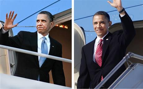 Do letadla v americké letecké základně Andrews nastupoval Barack Obama v modré kravatě, v Praze vystupoval v červené. (8. dubna 2010)