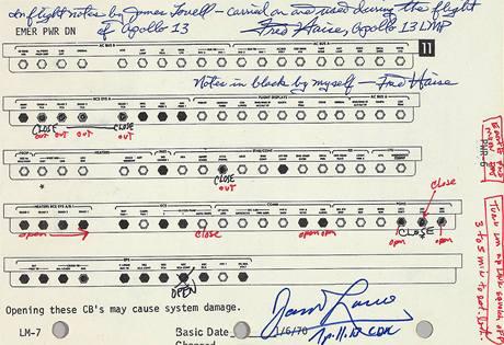 V newyorské aukční síni Bonham bude 13. dubna vydražen zápis nouzových kontrol ze slavného letu Apollo 13.