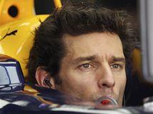 Mark Webber čeká na start druhého tréninku na Velkou cenu Malajsie