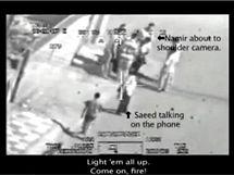 Z�b�ry zachycuj� skupinku Ir��an� a dva novin��e Reuters t�sn� p�ed �tokem americk�ho vrtuln�ku