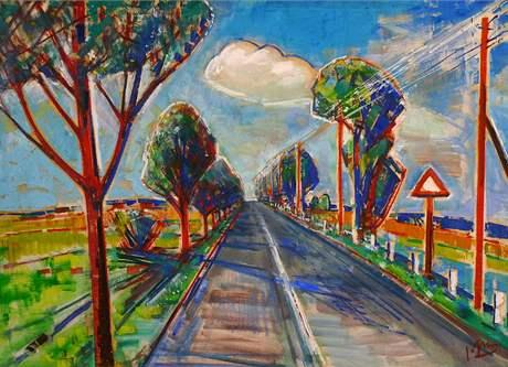 Klenová - Normalizační galerie: František Grus (1891-1983): Cesta k horám (1976), olej na plátně
