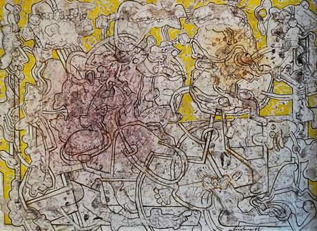Klenová - Normalizační galerie: Jan Smetana (1918-1998): Laboratoř II (1962), olej na plátně