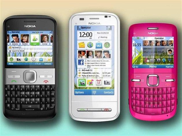 Nokia E5, C6 a C3