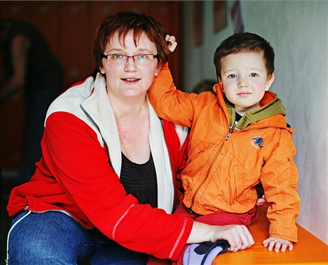 Jana Makovcová - se svým postiženým synem Jindřiškem