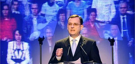 Lídr ODS Petr Nečas při představení volebního programu strany. (15. dubna 2010)