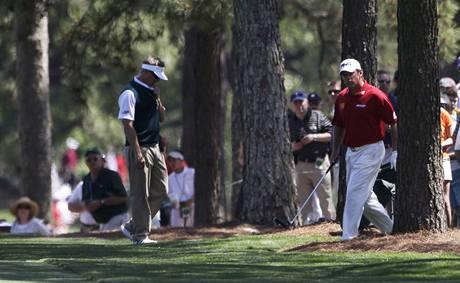 Lee Westwood (vpravo), čtvrté kolo Masters 2010.