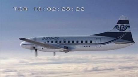 Letoun Convair 340-580 při letu Partnair 394