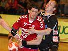 Český házenkář Daniel Kubeš v utkání proti Rakousku.