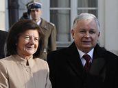 Polský prezident Lech Kaczyński a jeho manželka Maria