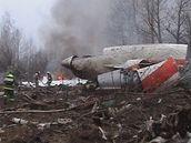 Trosky letadla, v němž zemřel mimo jiné i polský prezident Lech Kaczynski. (10.4.2010)