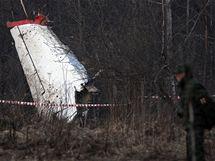 Místo havárie Tupolevu TU-154M u ruského Smolensku. V letadle zahynuly polské politické špičky včetně prezidenta Kaczynského. (11.4.2010)