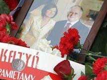 Fotografie polského prezidenta Lecha Kaczynského s jeho manželkou. (10.4. 2010)