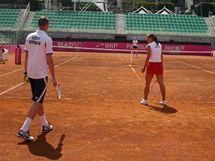 Petr Pála a Petra Kvitová trénují v areálu Foro Italico v Římě před semifinále Fed Cupu