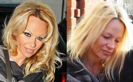 Pamela Andersonová s make-upem a bez něj