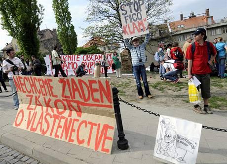Několik desítek lidí protestovalo před slovenským parlamentem proti projednávanému zákonu na podporu vlastenectví. (27. dubna 2010)