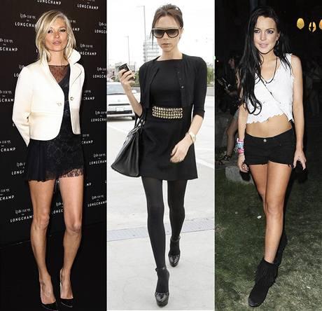 Kate Moss, Victoria Beckham a Lindsay Lohan.