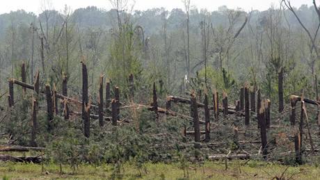 Následky řádění tornáda na jihu USA. (24. 4. 2010)