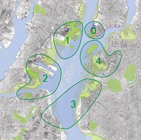 Mapa přístavní oblasti New York s rozdělením do zón, pro které vypracovali architekti návrhy