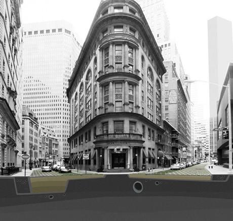 Průřez ulicí Manhattanu navrženou jako zelená stezka