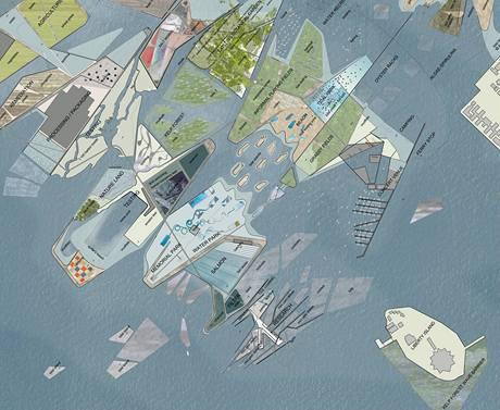 """Návrh nového pobřeží New Jersey rozčleněného na """"petriho"""" misky"""