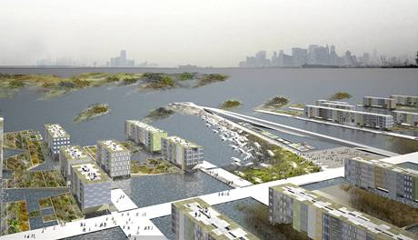 Nové vodní město Aquaecous City na pobřeží Staten Island a Brooklynu