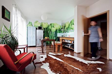 Majitelka se nebála tmavých tónů, které prostor zvýraznily. Laminátovou podlahu s dekorem ořechu objevila v KIKA, křesílko je z bazaru a kávový stolek z 50. let po rodičích