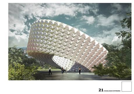 Ondřej Otýpka a Nina Pevná z ČVUT Praha se inspirovali českým kubismem a japonským origami, expozicí na místě Stalinova památníku se prochází po spirále