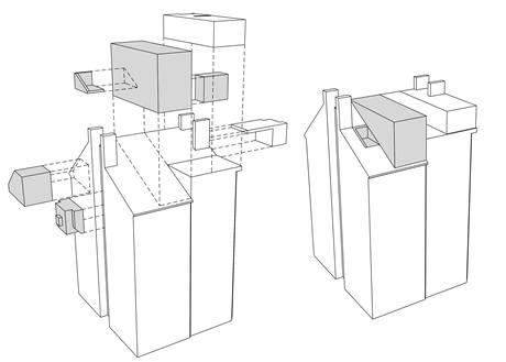 Obytné kontejnery nechal architekt vestavět do původní střechy bytového domu