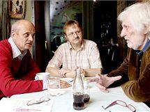 Ladislav Verecký při rozhovoru s Michalem Horáčkem a Petrem Hapkou. (2008)