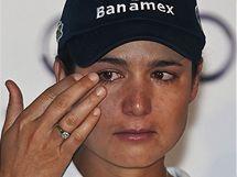 Lorena Ochoaová na závěrečné tiskové konferenci.