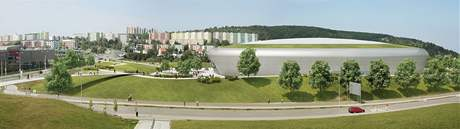 Vizualizace multifinkční arény vedle bohunického kampusu v Brně