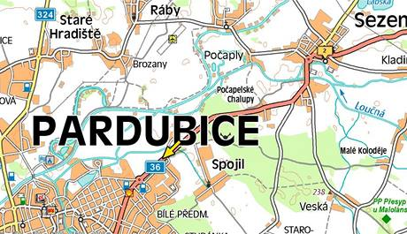 Příjezd do Pardubic od obce Sezemice.