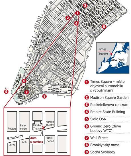 Mapa okolí Times Square na Manhattanu v New Yorku.