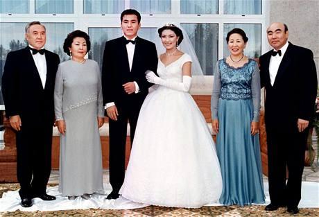 Kazašský prezidentský pár Nursultan a Sara Nazarbajevovi (vlevo) na svatbě jedné ze svých tří dcer. Jejím manželem se stal syn kyrgyzského prezidentského páru Mairam a Askara Akajevových. (1998)