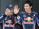Jezdci týmu Red Bull ovládli kvalifikaci Velké ceny Španělska. Z prvního místa do závodu odstartuje Mark Webber (vpravo), hned za ním bude na startu stát Sebastian Vettel