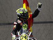 VYHRÁL JSEM. Toni Elias se raduje z vítězství ve Velké ceně Jerezu silničních motocyklů.