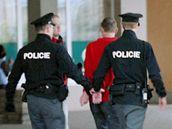 Policisté odvádějí Luboše Dvořáka, který zaútočil pěstí na brněnském mítinku ČSSD na Bohuslava Sobotku. (5. května 2010)