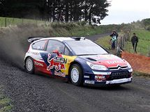 Sébastien Ogier na trati Rallye Nový Zéland.