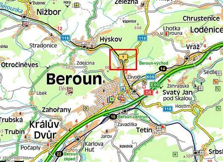 Místo nehodu u Berouna