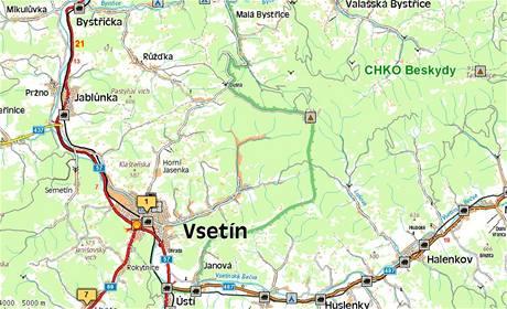 Mapa Vsetínska ohroženého sesuvy půdy po záplavách