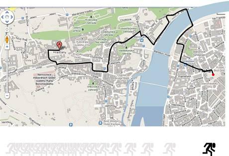 Trasa sobotního charitativního Běhu pro gorily. Start je na Hradčanském náměstí, cíl na Staroměstském náměstí.