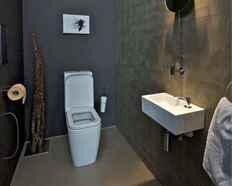 Na tmavě šedé a betonové stěrce vynikla bílá sanita