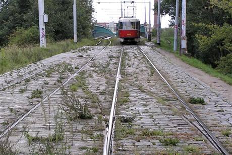 """""""Provizorní"""" tramvajový most Troja v roce 2007"""