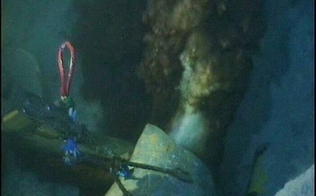 Společnost British Petroleum zveřejnila první fotku a video z mořského dna v Mexickém zálivu, kde uniká ropa (13. května 2010)