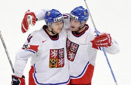 CHVILKOVÁ RADOST. Miroslav Blaťák (vlevo) se raduje z kontaktního gólu v utkání proti Švýcarsku. Čeští hokejisté prohráli a čtenáři žádnému hráči nedali jedničku. Nejlepší byl Blaťák, nejhorší Červenka. (vpravo)