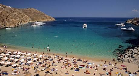 Řecko, Mykonos, pláž Super Paradise